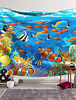 cheap -Wall Tapestry Art Decor Blanket Curtain Hanging Home Bedroom Living Room Decoration Polyester Animated Underwater World Fish