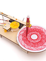 cheap -Kids Creative DIY Assembled Wooden Electric Plotter Kit Model Automatic Painting Drawing Robot Science Physics Experiment Toy