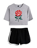 cheap -Women's Basic Streetwear Floral Vacation Casual / Daily Two Piece Set Crop Top Tracksuit T shirt Loungewear Shorts Print Tops