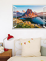 cheap -3D Fake Window New Wall Paste High Mountain Lake Home Corridor Background Decoration Can Be Removed Stickers