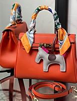cheap -Women's Bags PU Leather Satchel Top Handle Bag Date Office & Career 2021 Handbags Black Blue Orange Khaki