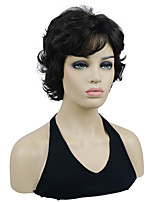 cheap -Natural Look Short Curly Brown/Auburn Highlights Synthetic Wig for Women