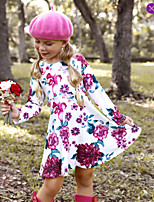 cheap -Kids Little Girls' Dress Floral Print White Knee-length Long Sleeve Active Dresses Summer Regular Fit 2-6 Years