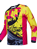 cheap -CAWANFLY Men's Long Sleeve Cycling Jersey Downhill Jersey with Pants Dirt Bike Jersey Winter Red / Yellow Novelty Funny Bike Tee Tshirt Jersey Motorcyle Clothing Mountain Bike MTB Road Bike Cycling