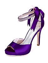 cheap -Women's Wedding Shoes Stiletto Heel Open Toe Satin Sparkling Glitter Ribbon Tie Solid Colored White Black Purple
