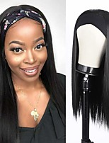 cheap -Headband Wig Straight Human Hair Wig with Headband Attached for Women Glueless Easy to Wear 150% Density Brazilian Virgin Human Hair Full Machine Made Wig None Lace Front Wigs Natural Color 12-30 inch