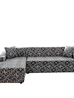 cheap -Grey Print Dustproof All-powerful Slipcovers Stretch L Shape Sofa Cover Super Soft Fabric Couch Cover Sofa Furniture Protector With One Free Boster Case