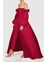 cheap -Jumpsuits Minimalist Elegant Wedding Guest Formal Evening Dress Off Shoulder Long Sleeve Detachable Satin with Sleek Bow(s) 2021