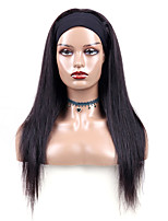 cheap -Headband Wig Straight Human Hair wig with Headband For Black Women's  Easy to Carry Sexy Lady Capless Brazilian HairNatural Black #1B 8-30 inch Party Evening Rehearsal Dinner Daily Wear