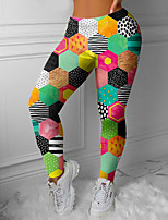 cheap -Women's Colorful Fashion Comfort Leisure Sports Weekend Leggings Pants Patchwork Geometric Pattern Ankle-Length Sporty Elastic Waist Print Green