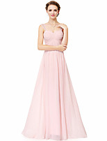 cheap -A-Line Elegant Sexy Wedding Guest Formal Evening Dress Spaghetti Strap Sleeveless Floor Length Chiffon with Sleek 2021