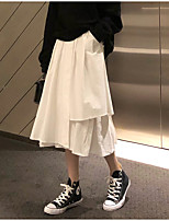 cheap -Women's Vacation Casual / Daily Streetwear Preppy Skirts Solid Colored Layered Pocket White Black
