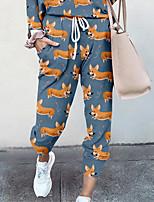 cheap -Women's Basic Soft Comfort Going out Gym Palazzo Pants Dog Animal Full Length Elastic Drawstring Design Print Blue