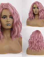 cheap -Synthetic Wig Deep Wave Bob Side Part Wig Short Pink Synthetic Hair Women's Cosplay Party Fashion Pink