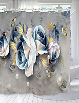 cheap -Blue And White Pearl Flower Digital Printing Shower Curtain Shower Curtains  Hooks Modern Polyester New Design