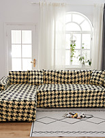 cheap -Yellow Houndstooth Swallow Gird Dustproof All-powerful Stretch L Shape Sofa Cover Super Soft Fabric Sofa Furniture Protector with One Free Boster Case