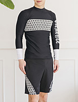 cheap -Men's Rash Guard Dive Skin Suit Swimwear UV Sun Protection Quick Dry Long Sleeve 3-Piece - Swimming Diving Surfing Snorkeling Grid Pattern Autumn / Fall Spring Summer