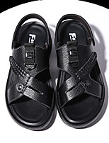 cheap -Men's Sandals Casual Beach Daily Water Shoes Upstream Shoes Nappa Leather Breathable Non-slipping Wear Proof Black Summer