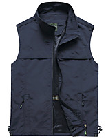 cheap -Men's Hiking Vest / Gilet Fishing Vest Sleeveless V Neck Vest / Gilet Jacket Top Outdoor Quick Dry Lightweight Breathable Sweat wicking Autumn / Fall Spring Summer Nylon Polyester Solid Color Army