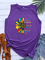 cheap -Women's Tank Top Floral Graphic Letter Print Round Neck Tops Basic Basic Top Blue Purple Light gray