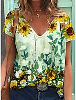 cheap -Women's T shirt Floral Print V Neck Basic Tops Green