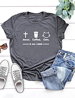 cheap -Women's T shirt Graphic Letter Print Round Neck Tops Basic Basic Top Black Blue Blushing Pink