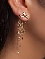 cheap -tassel earrings long fashion jewelry shining stars tassel rear hanging five-pointed star earrings