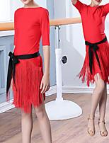 cheap -Latin Dance Dress Tassel Girls' Training Performance Half Sleeve Natural Nylon