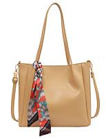cheap -Women's Bags PU Leather Tote Top Handle Bag Date Office & Career 2021 Handbags Black Yellow Khaki Beige