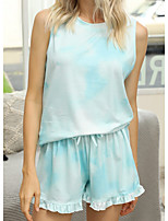 cheap -Women's Home Polyester everyday Scoop Neck Loungewear Sleeveless Lace Spring & Summer S Blue