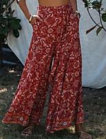 cheap -Women's Basic Boho Comfort Holiday Weekend Chinos Pants Graphic Paisley Full Length Elastic Drawstring Design Print Red Yellow