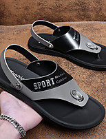 cheap -Men's Sandals Casual Beach Daily Walking Shoes Nappa Leather Breathable Non-slipping Wear Proof Black and White Black+Gray Summer