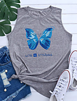 cheap -Women's Tank Top Graphic Butterfly Letter Print Round Neck Tops Basic Basic Top Blue Purple Light gray