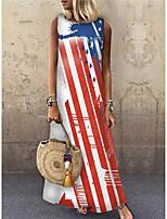 cheap -Women's Shift Dress Maxi long Dress Red Sleeveless Print Flag Print Spring Summer Round Neck Casual 2021 S M L XL XXL 3XL
