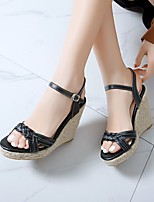 cheap -Women's Sandals Wedge Heel Peep Toe PU Synthetics White Black Yellow