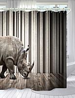 cheap -One-Horned Rhino Digital Printing Shower Curtain Shower Curtains  Hooks Modern Polyester New Design