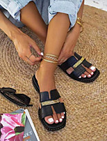 cheap -Women's Slippers & Flip-Flops Flat Heel Open Toe PU Leopard Black Gold Silver