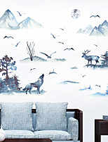 cheap -Wall Sticker Ink Mountain Wolf Deer Bird Study Bedroom Office Background Decoration Wall Pastering Can Remove Silhouette Pastering