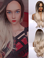 cheap -Ombre Brown Light Blonde Platinum Long Wavy Middle Part Hair Wig Cosplay Natural Heat Resistant Synthetic Wig for Women