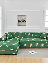 cheap -Color Green Christmas Dustproof All-powerful  Stretch L Shape Sofa Cover Super Soft Fabric Sofa Furniture Protector with One Free Boster Case