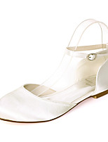 cheap -Women's Wedding Shoes Flat Heel Round Toe Satin Solid Colored White Purple Red