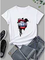 cheap -Women's T shirt Graphic Mouth Print Round Neck Tops 100% Cotton Basic Basic Top White Black Blue