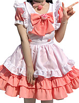 cheap -Lolita Maid Uniforms Cute Women's Japanese Cosplay Costumes Light Pink Solid Color / Dress / Apron