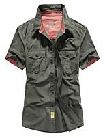 cheap -Men's Hiking Jacket Hiking Shirt / Button Down Shirts Short Sleeve Shirt Coat Top Outdoor Quick Dry Lightweight Breathable Sweat wicking Autumn / Fall Spring Summer Watermelon Red ArmyGreen khaki