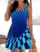 cheap -Women's A Line Dress Short Mini Dress Blue Sleeveless Print Color Block Print Spring Summer Boat Neck Casual 2021 S M L XL XXL 3XL