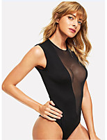 cheap -Women's Layered Mesh Hole Sexy Lingerie Nightwear Solid Colored Bra Black XS S M
