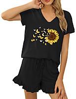 cheap -Women Basic Streetwear Floral Print Vacation Casual / Daily Two Piece Set Tracksuit T shirt Loungewear Shorts Drawstring Ruffle Print Tops