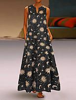 cheap -Women's Swing Dress Maxi long Dress Black Blue Yellow Orange Sleeveless Print Print Summer V Neck Casual 2021 S M L XL XXL 3XL 4XL 5XL