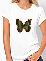 preiswerte -Damen T-Shirt Grafik Schmetterling Druck Rundhalsausschnitt Oberteile 100% Baumwolle Grundlegend Basic Top Weiß Blau Purpur