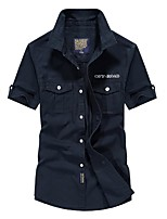 cheap -Men's Hiking Jacket Hiking Shirt / Button Down Shirts Short Sleeve Shirt Coat Top Outdoor Quick Dry Lightweight Breathable Sweat wicking Autumn / Fall Spring Summer ArmyGreen khaki Navy Blue Hunting